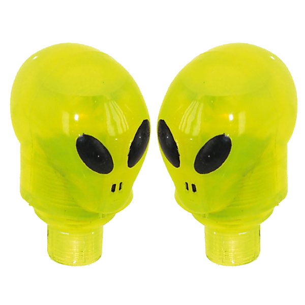 LED Flashing Valve Caps - Green Alien