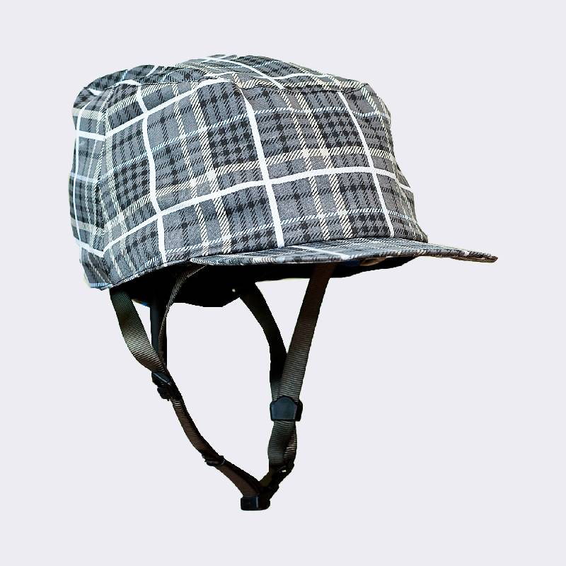 Cycle Helmet Waterproof Grey/Black Plaid Medium