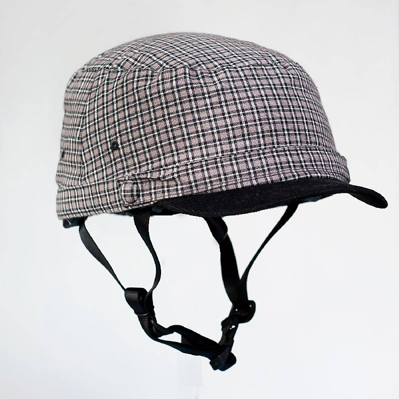 Cycle Helmet Grey & Black w/ corduroy brim Large